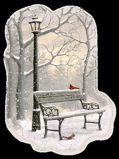 Banc de parc en hiver