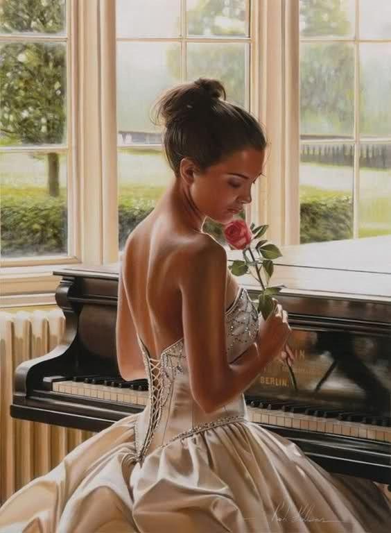 Femme romantique au piano
